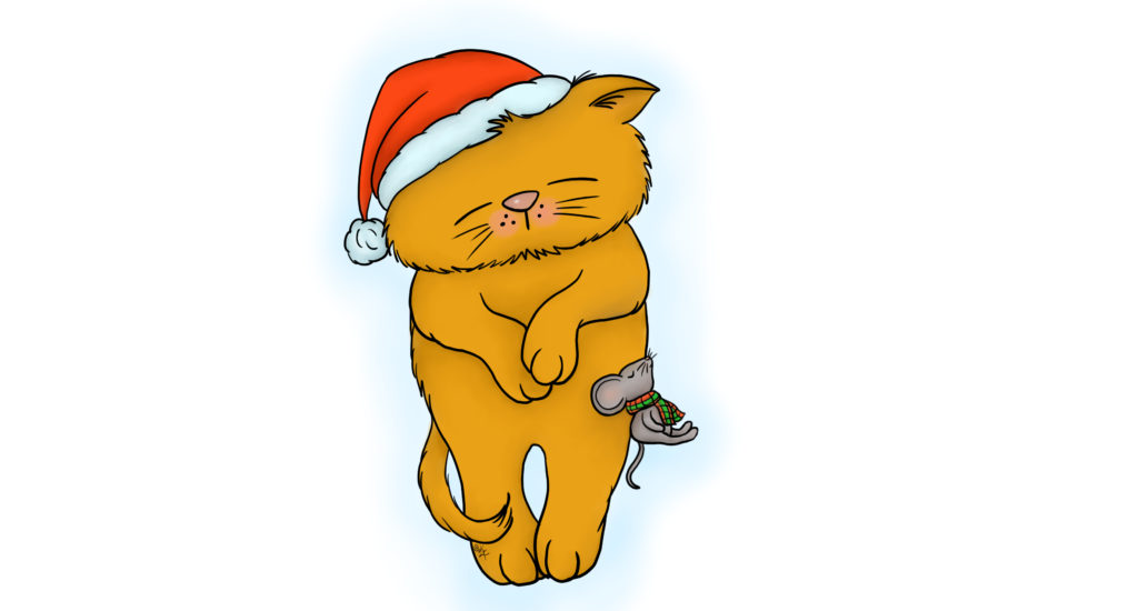 Kathie Zaban, Free Digital Images, Free Digis, Bearywishes, sleeping kitty, christmas kitty