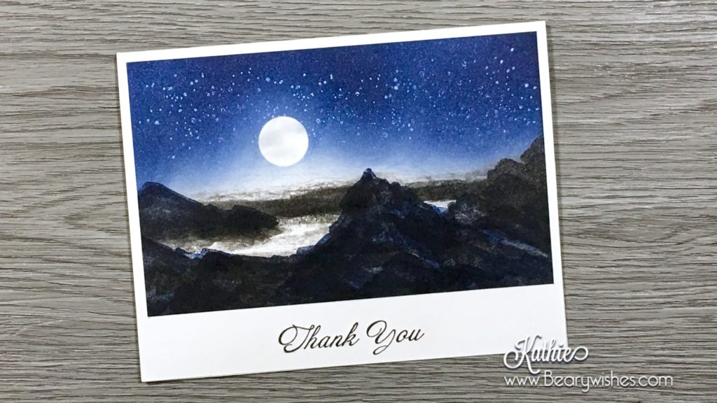 canadian stampin up demonstrator, stampin up, paper piecing, card making, card making Canada, paper crafting, paper crafting Canada, stamping up demonstrator, Kathie zaban, bearywishes, stampinkathie, stampin Kathie, Stamping, card making Canada, waterfront, thank you, night scene, mountains,