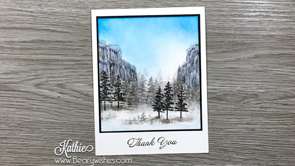 canadian stampin up demonstrator, stampin up, paper piecing, card making, card making Canada, paper crafting, paper crafting Canada, stamping up demonstrator, Kathie zaban, bearywishes, stampinkathie, stampin Kathie, Stamping, card making Canada, watercolouring, watercoloring, waterfront, thank you, snowy scene, mountains,