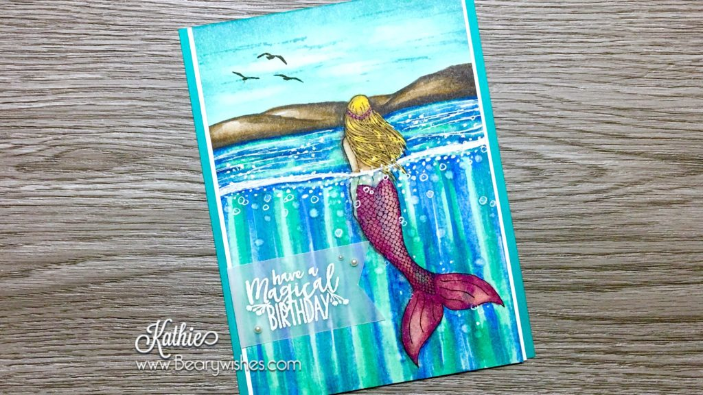 canadian stampin up demonstrator, stampin up, paper piecing, card making, card making Canada, paper crafting, paper crafting Canada, stamping up demonstrator, Kathie zaban, bearywishes, stampinkathie, stampin Kathie, Stamping, card making Canada, magical mermaid, stampin'blends, birthday